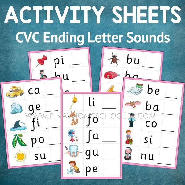 Montessori Language Ending Letter Sound Activity Sheets