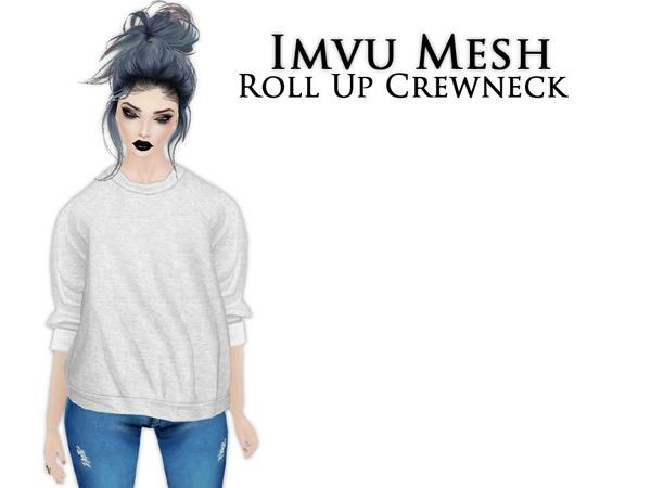 IMVU Mesh - Tops - Roll Up Crewneck