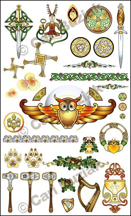 "Aon Wedding Stationery - ""Druid's Lore"" set, Sunset and Gold, 300dpi"