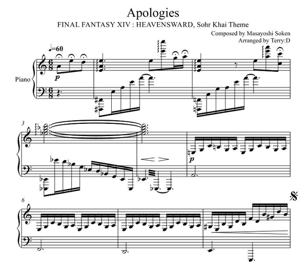 "Final Fantasy XIV -Sohr Khai theme - ""Apologies"" for piano solo Arr.by Terry:D"