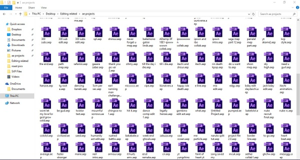All my Ae project files EVER (First edit to Last)