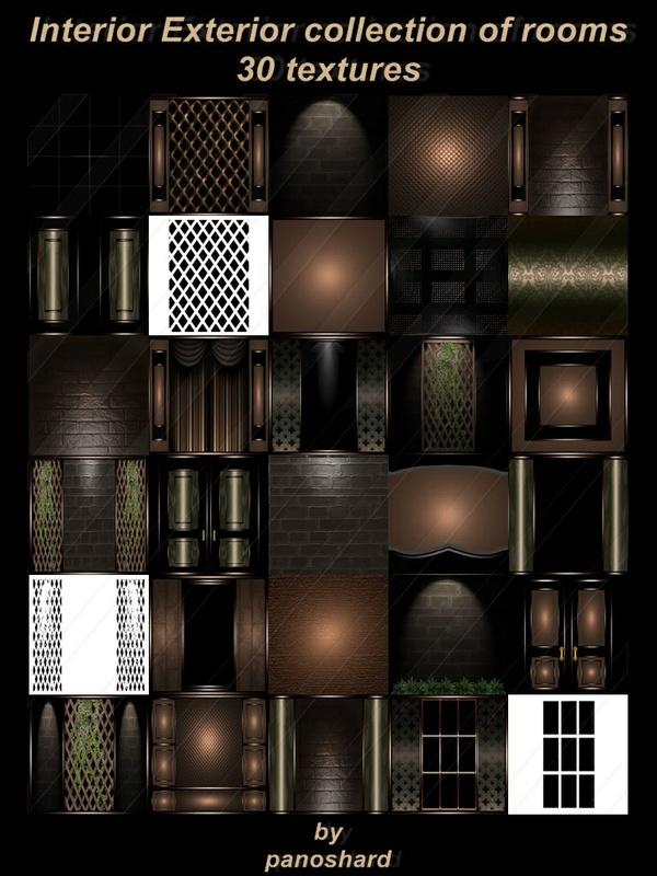 Interior Exterior collection of rooms 30 textures