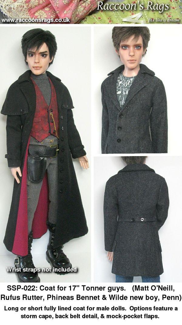 "SSP-022: Long & short coat pattern for 17"" Tonner male dolls, & some slim MSD."