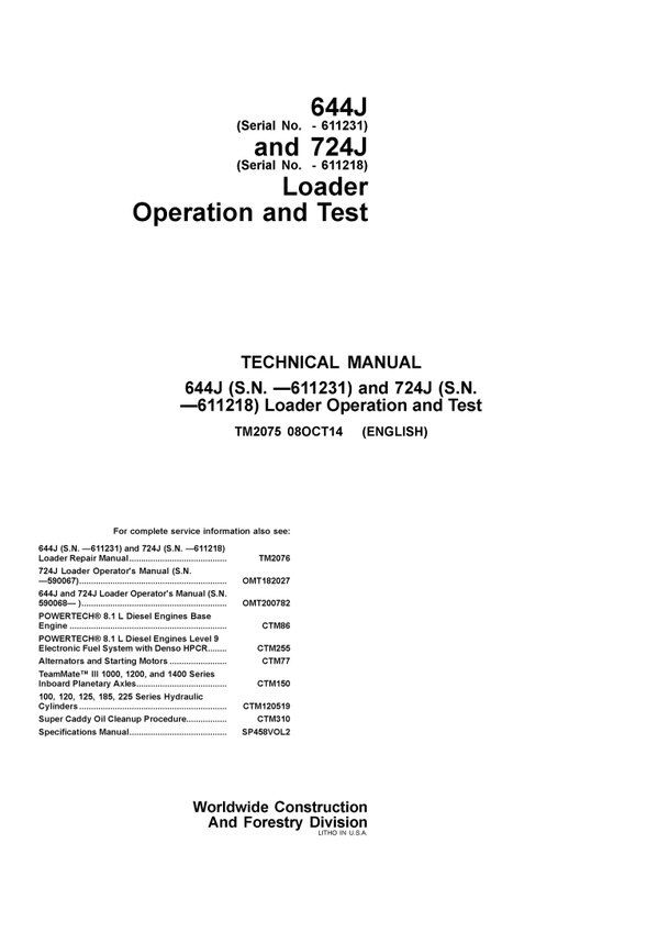 PDF DOWNLOAD JOHN DEERE 644J 724J WHEEL LOADER OPERATION AND TEST TECHNICAL MANUAL TM2075