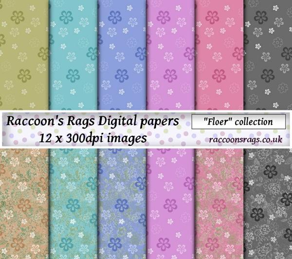 """Digital paper """"Floer"""" Twelve  12"""" x 12"""" images: artjournal, collage, scrapbook, dollhouse, cards"""