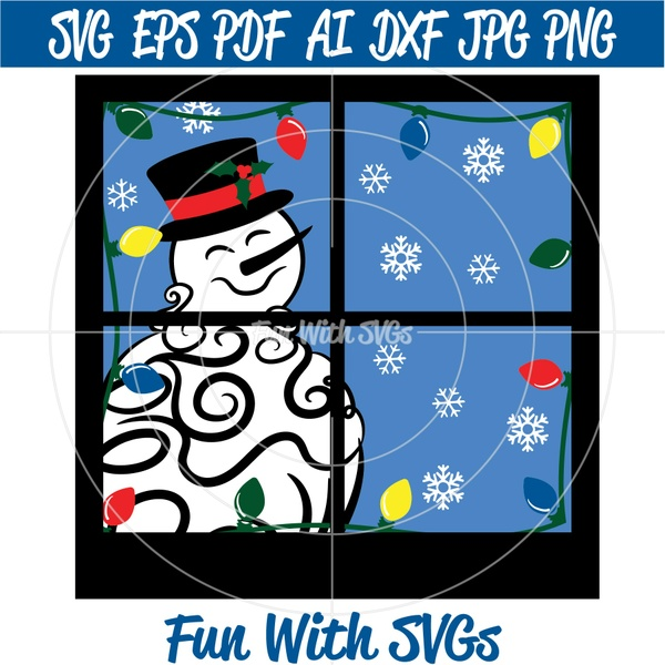 Glass Block Snowman SVG, Winter SVG Files