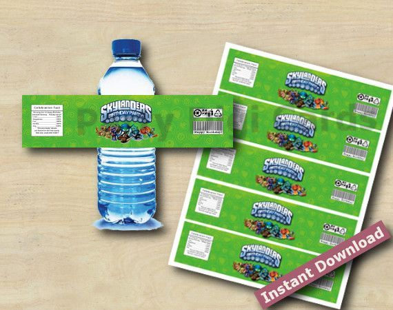 Skylanders Swap Force Water Bottle Labels, 3 colors