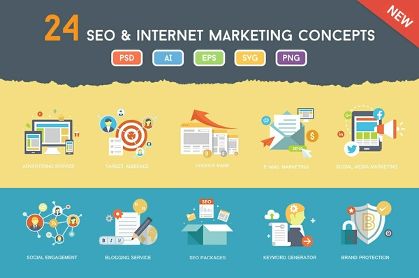 24 Flat SEO & Internet Marketing Concepts