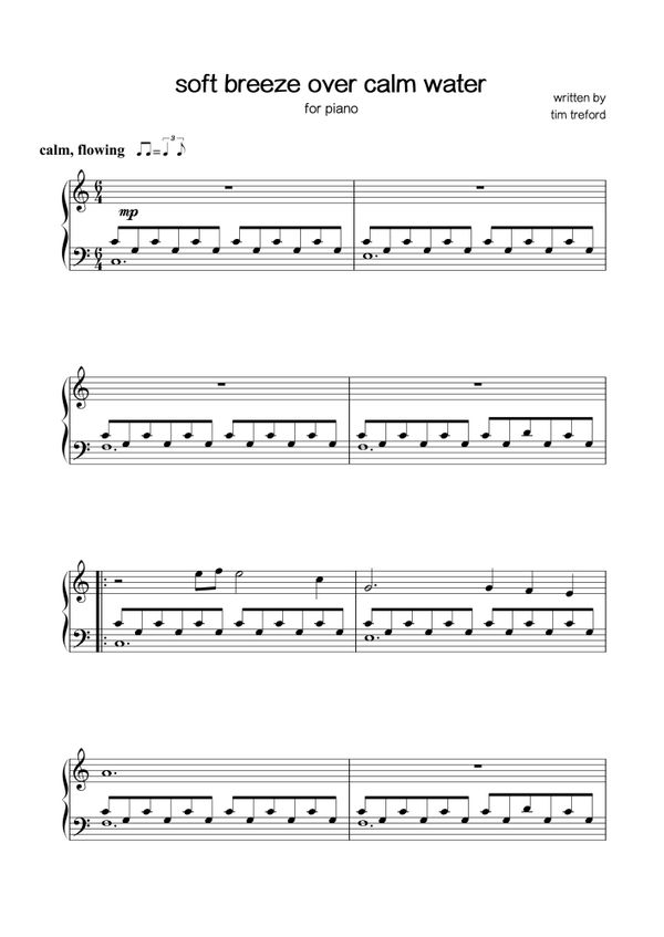 Sheet music - tim treford - soft breeze over calm water