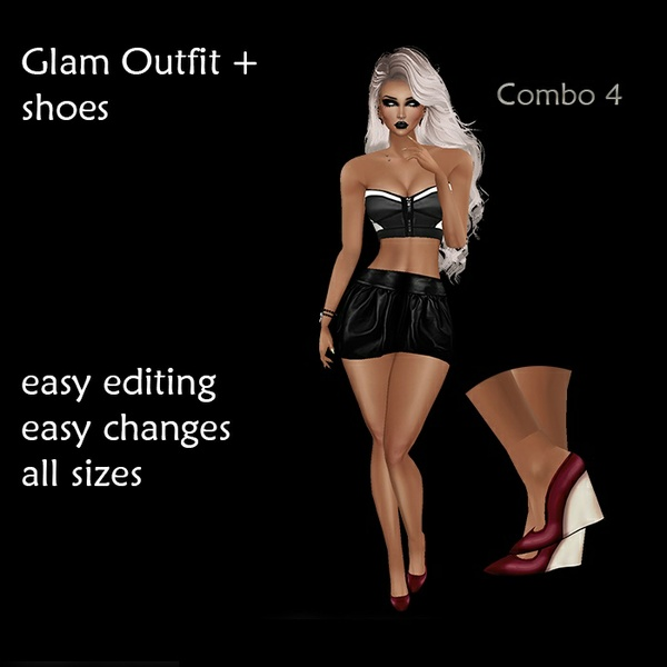 Glam Outfit and shoes - png