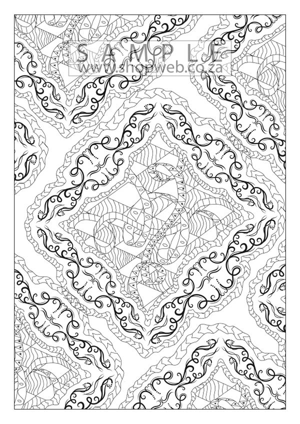Twirly Ribbons 1 colouring-in page