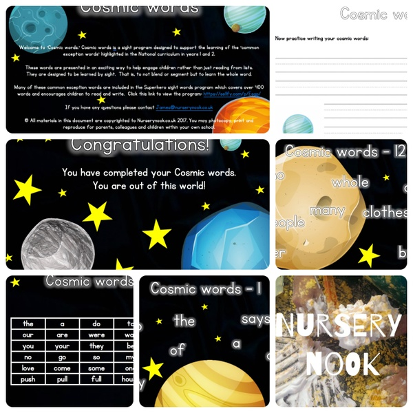 Cosmic words (Common exception words Year 1 &2)