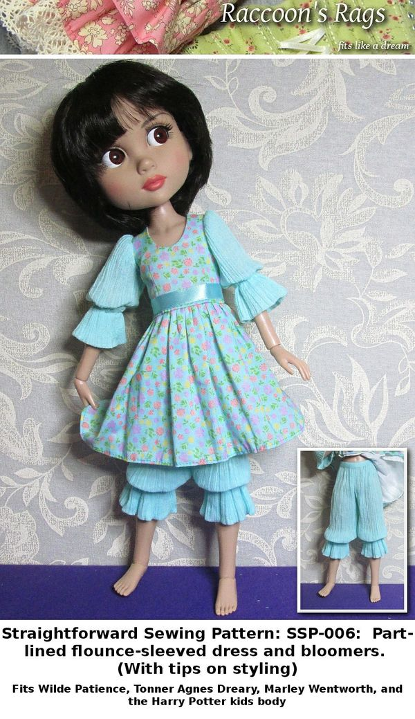 SSP-006: Straightforward Sewing Pattern; Flounce-sleeved dress and bloomers for Tonner Patience.
