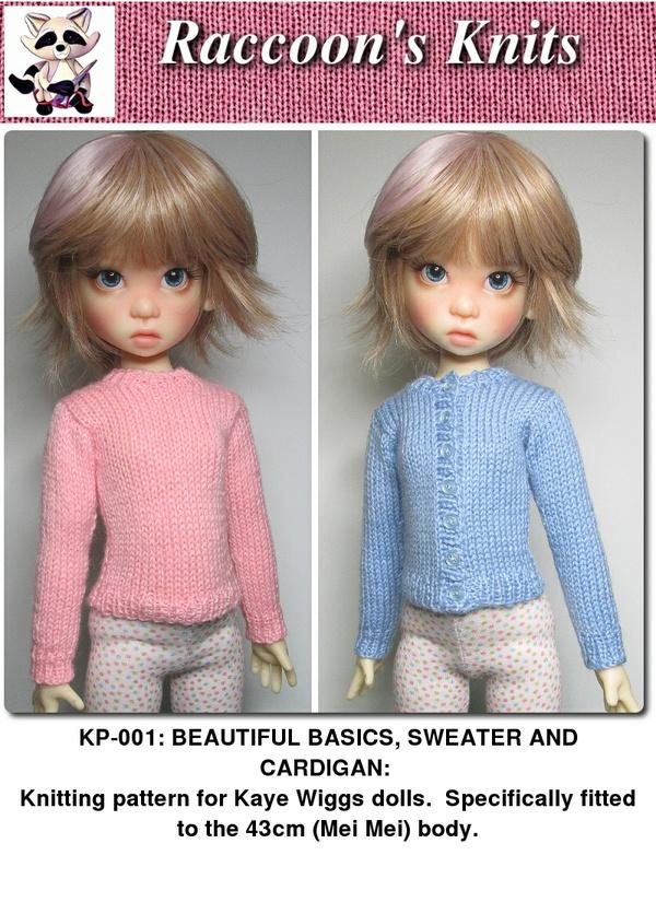 KP-001: Sweater and cardigan pattern for Kaye Wiggs dolls.  (Mei Mei body, 43cm)