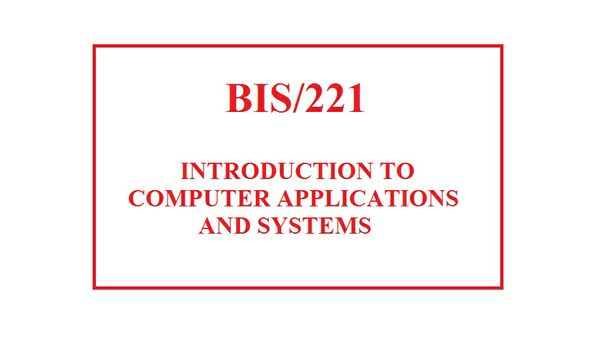 BIS 221 Week 1 Overview of Information Systems Table