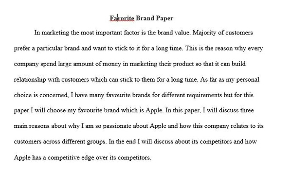 MKT 421 Favorite Brand Paper | MKT 421 Week 1 Individual Assignment
