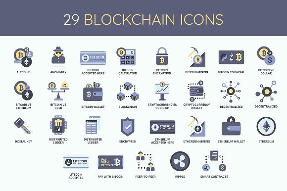 Bitcoin / CryptoCurrency / Blockchain Icon Set