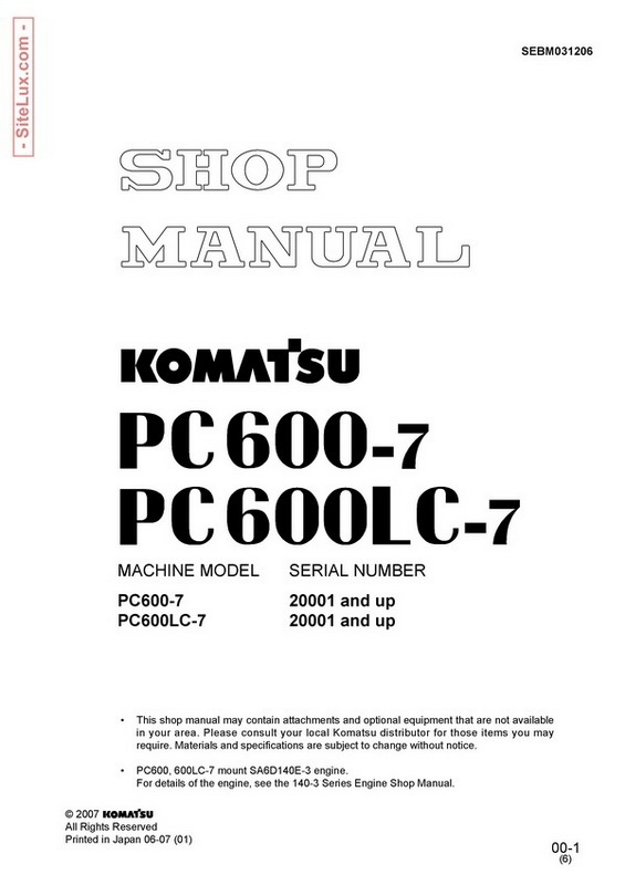 Komatsu PC600-7, PC600LC-7 Hydraulic Excavator (20001 and up) Shop Manual - SEBM031206