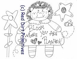 #4 Bloom Where Planted All line/stitcherys drawing ePattern