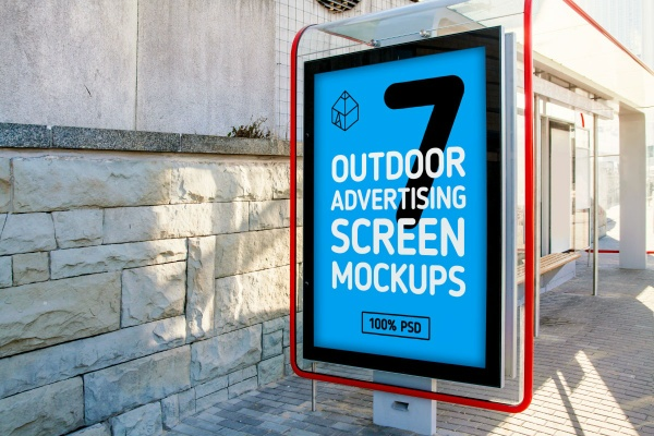 Outdoor Advertising Screen Mock-Ups