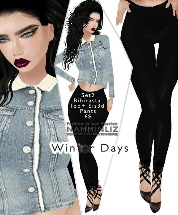 Winter days Set1 imvu Bibirasta Top + Pants Sis3d