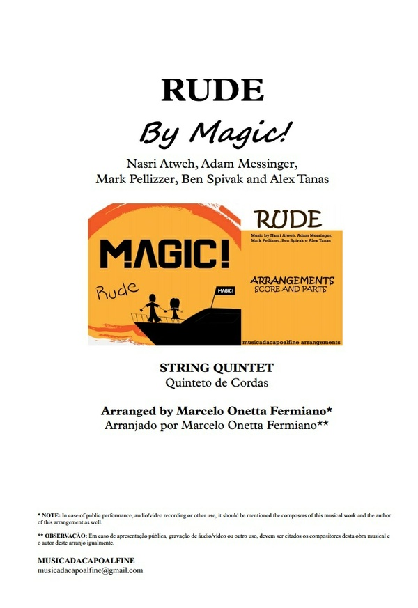 Db Major - RUDE - MAGIC! - String Quintet Sheet Music - Score and parts.pdf