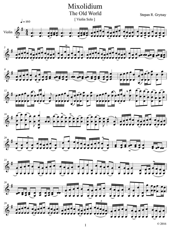 "Mixolidium ""The Old World"" for Violin Solo [Stepan Grytsay] - PDF Sheet Music"