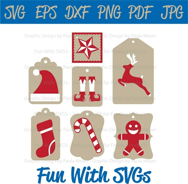 Christmas Tags in Red and White, SVG Files, Elf, Santa, Ginger Bread, Stocking, Star, Reindeer