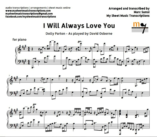 I Will Always Love You (Dolly Parton) Sheet music (.pdf)