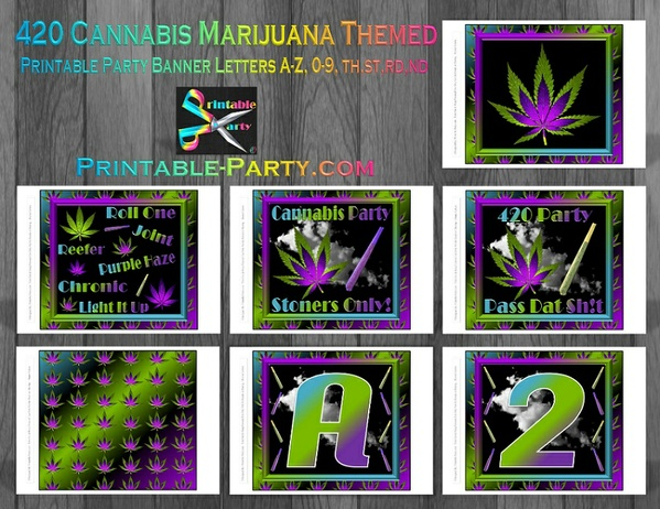 Printable 420 Marijuana Party Supplies Pack