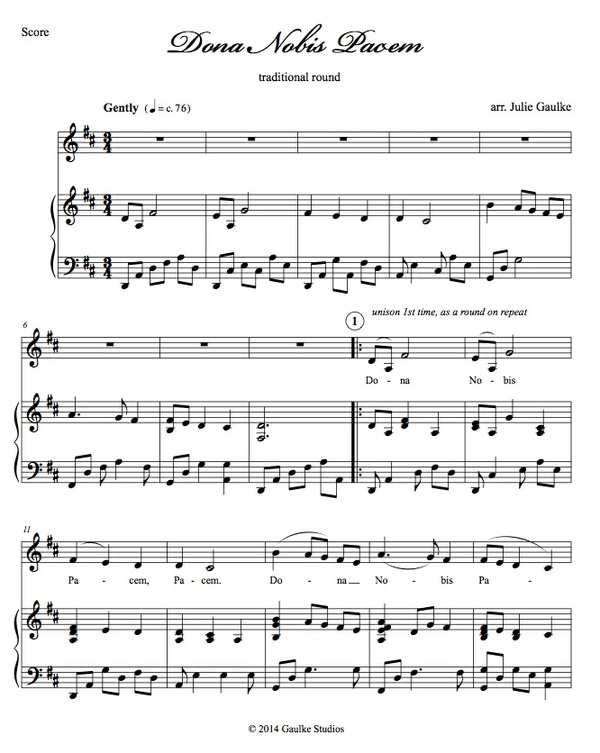 Dona Nobis Pacem (key of D) score and accompaniment track