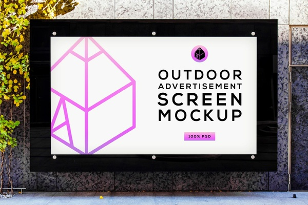 Free Outdoor Advertising Screen Mock-Up 4