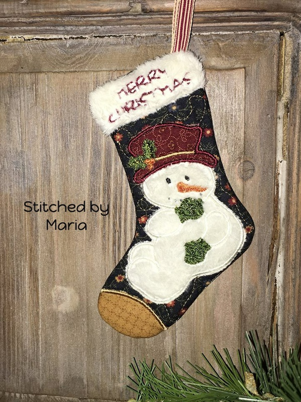 NNC ITH Christmas Stocking - Snowman in 6 sizes and all popular formats