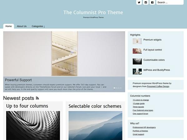 The Columnist Pro Magazine/Blog Responsive theme