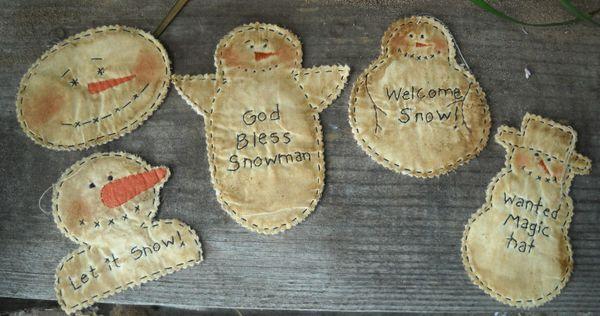 #389 snowman stitchery ornaments e pattern
