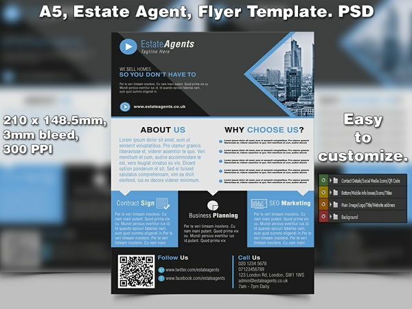 Estate Agent Flyer Template (A5 PSD)