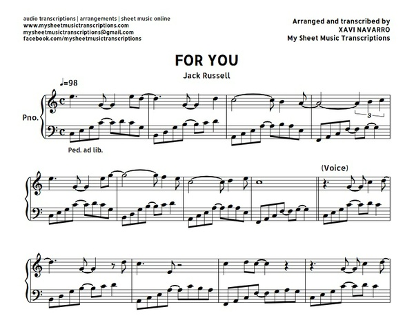 For You (Jack Russell) Sheet music (.pdf)