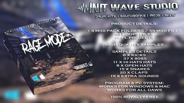 INIT WAVE STUDIO - RAGE MODE DRUM KIT VOL.1 (MIDI FILES, LOOPS & FLPS)