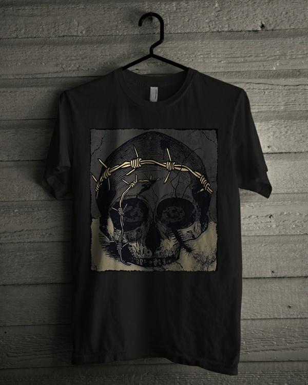 T-shirt Design Image - Skull In Dark Grey - Grey Color