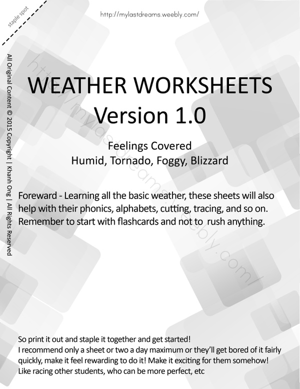 MLD - Basic Weather Worksheets - Part 3 - Letter Sized