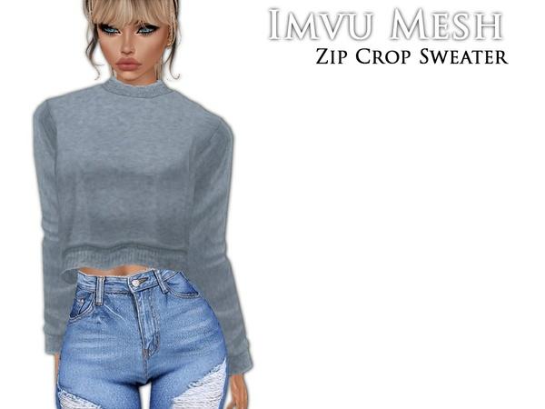 IMVU Mesh - Tops - Zip Crop Sweater