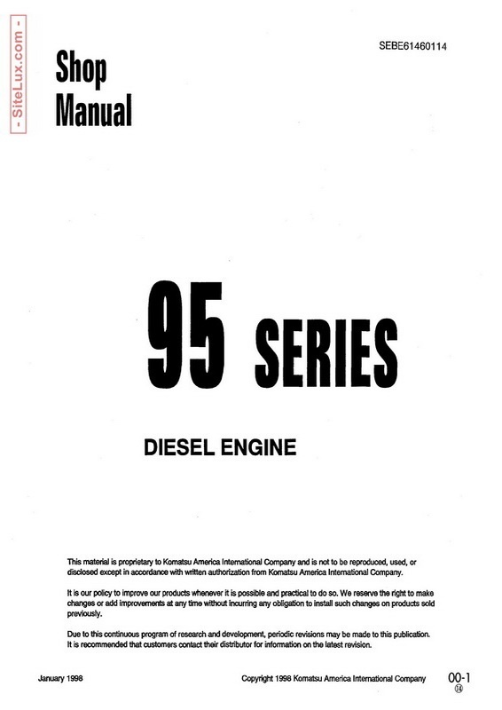 Komatsu 95 Series Diesel Engine Shop Manual - SEBE61460114
