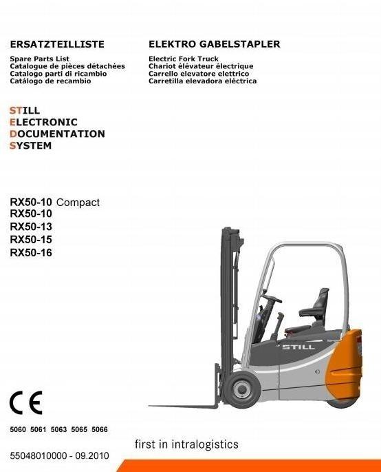 Still Forklift RX50-10, RX50-13, RX50-15, RX50-16: 5060, 5061, 5063, 5065, 5066 Spare Parts Manual