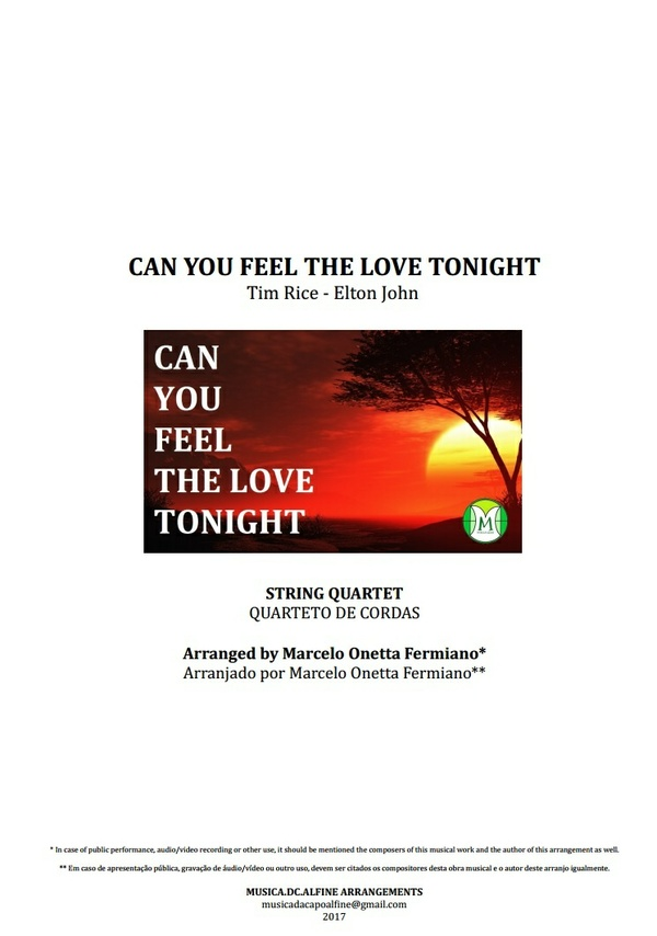 Can You Feel The Love Tonight - Elton John - String Quartet - Score and Parts