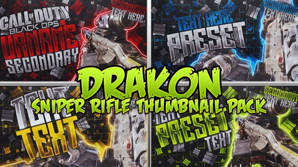 Drakon Sniper Rifle Thumbnail Template Pack - Call of Duty: Black Ops III