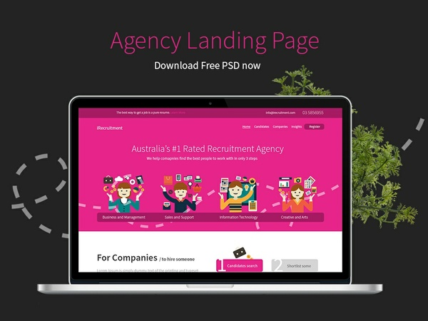 Free Agency Landing Page PSD : Free Download PSD