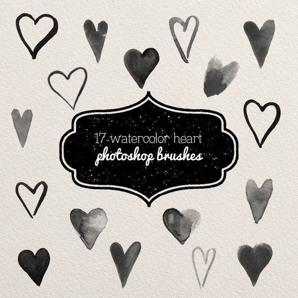 photoshop brushes - watercolor hearts