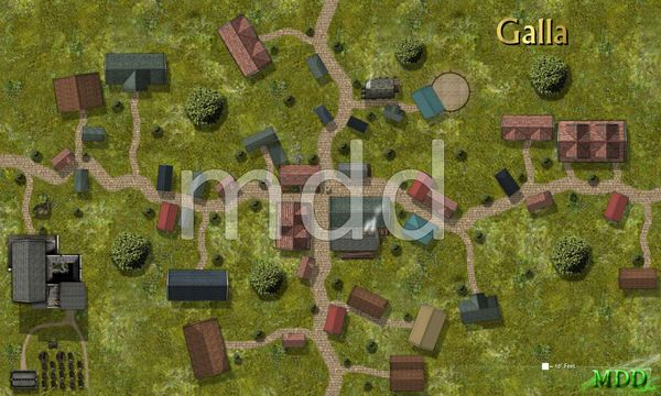 Gridless Town map/battle map of Galla