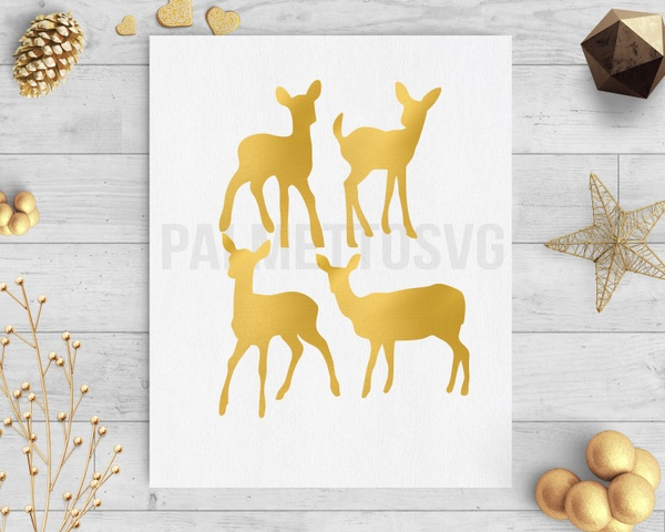 baby deer gold foil clip art svg dxf cut file silhouette cameo cricut download