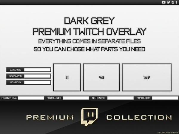 Premium Twitch Overlay Pack - Dark Grey